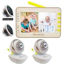 Video Baby Monitor 2 Cameras, Split Screen by Moonybaby, Pan Tilt Camera, 170 Degree Wide View L ...