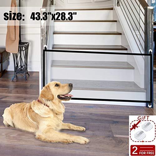 Pet Safety Gate Magic Dog Gate Magic Gate for Dog,43.3″x28.3″ Portable Mesh Folding  ...