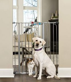 Carlson Extra Tall Walk Through Pet Gate with Small Pet Door, Includes 4-Inch Extension Kit, 4 P ...