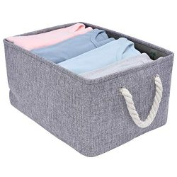 StorageWorks Rectangular Basket, Foldable Storage Bin with Rope Handles for Babies Nursery Toys  ...