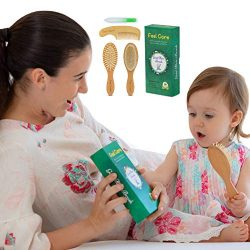Natural wood baby hair brush and Comb Set 4 pieces – cradle cap Infant grooming set for to ...