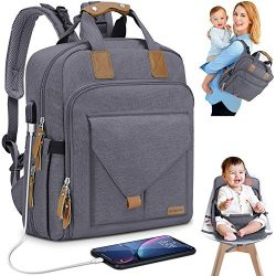 Diaper Bag Backpack with Child Safety Seat 2 in 1 Multifunction of Multiple Pockets Stroller Lug ...