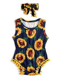 Leapparel Cute Blue Sun Flower Print One-Piece Pompom Bodysuit 6-12 Months Toddler Baby Girl Out ...