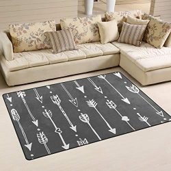 ALAZA Soft Area Rug,Ethic Doodle Arrow Pattern Floor Rug Non-Slip Doormat for Living Dining Dorm ...