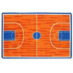 Mybecca Kids Rug Basketball Ground 5′ x 7′ Children Area Rug for Playroom & Nurs ...