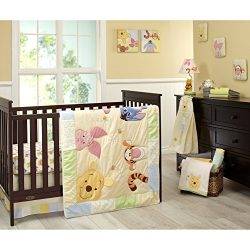 Disney Winnie The Pooh Peeking Pooh 7 Piece Nursery Crib Bedding Set – Appliqued/Textured  ...