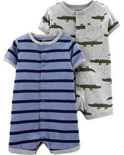 Carter's Baby Boys 2-Pack Snap-up Romper, Tugboat/Alligator, 9 Months
