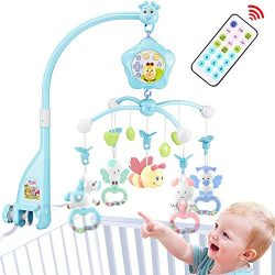Baby Crib Mobile for Pack and Play, Crib mobiles for Babies with Lights and Music, Remote, Proje ...