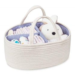 Baby Diaper Caddy Organizer Cotton Rope Storage Basket Nursery Storage Bin for Changing Table an ...