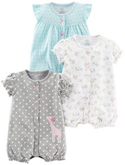 Simple Joys by Carter's Baby Girls' 3-Pack Snap-up Rompers, Blue Swan/White Floral/G ...