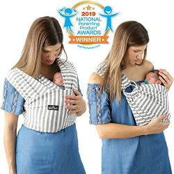 4 in 1 Baby Wrap Carrier and Ring Sling by Kids N' Such | Gray and White Stripes Cotton |  ...