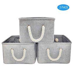 Storage Baskets for Nursery 3-Pack Rattan Book Baskets for Shelf Toy Organizer (Grey,16.7×1 ...