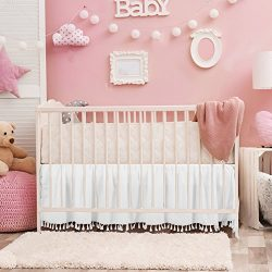 White Crib Bed Skirt Dust Ruffle with Tassel Trim Nursery Crib Bedding Skirt for Baby Boys and G ...