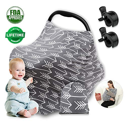 Car Seat Covers for Babies Infant Girls Boys Nursing Cover Breastfeeding Scarf, Soft Multi-Use S ...