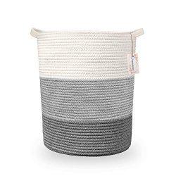 Cotton Rope Storage Baskets 18″ x 15.7″ Extra Large Blanket Basket Baby Laundry Bask ...