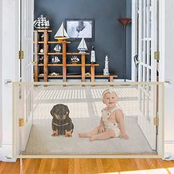Safety Gate for Dogs, Magic Gate Portable Mesh Folding Safety Fence,43.3″x 28.3″ Whi ...