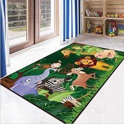 RuiHome Jungle Animals Theme Kids Game Play Mat Educational Fun Nursery Rug Classroom Bedroom De ...