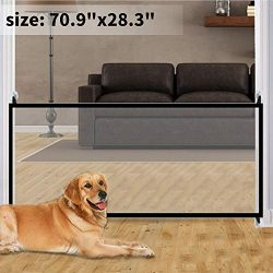 Pet Gate Magic Gate for Dogs 70.9″x28.3″ Baby Safety Gates Portable Folding Safe Gua ...