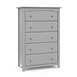 Storkcraft Kenton 5 Drawer Universal Dresser, Pebble Gray, Kids Bedroom Dresser with 5 Drawers,  ...