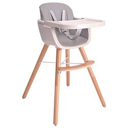 Baby High Chair, 3 in 1 Wooden High Chair with Removable Tray and Adjustable Legs for Baby/Infan ...