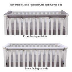 Belsden Microfiber Reversible Crib Rail Cover 3 Piece Set for 1 Long and 2 Side Rails, Durable P ...