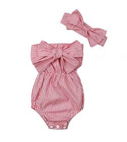 Newborn Kids Baby Girls Clothes Floral Jumpsuit Romper Playsuit + Headband Outfits (Red Striped, ...