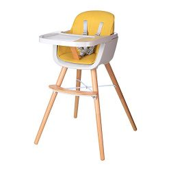 Foho Wooden High Chair, Perfect 3 in 1 Convertible Highchair with Cushion, Removable Tray, and A ...