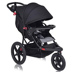 Costzon Baby Jogger Stroller, All Terrain Lightweight Fitness Jogging Stroller w/Parental Cup Ph ...