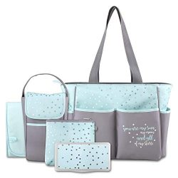 Diaper Bag Tote 5 Piece Set with Sun, Moon, and Stars, Wipes Pocket, Dirty Diaper Pouch, & C ...