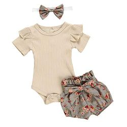 Newborn Baby Girls Clothes Floral Sleeve Romper+ Floral Short Pant 3pcs Summer Outfit 12-18 Mont ...