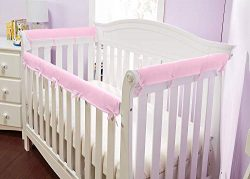 Everyday Kids Padded Baby Crib Rail Cover Set- Crib Rail Teething Guard – 3-Piece Front an ...