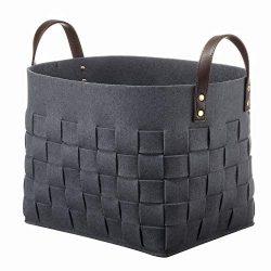 LoongBaby Felt Storage Baskets with Handles Soft Durable Toy Storage Nursery Bins Home Decoratio ...