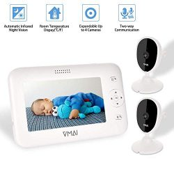 """Video Baby Monitor, with Two Digital Cameras, 4.3"""" Screen, Auto Night Vision, Temperature  ..."""