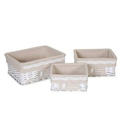Hosroome Nursery Storage Baskets Set with Liners Woven Wicker Storage Baskets for Baby Decorativ ...