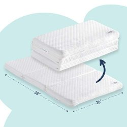 Tri-fold Pack n Play Mattress Pad with Firm (for Babies) & Soft (Toddlers) Sides | Portable  ...
