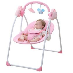WBPINE Baby Swing Cradle, Automatic Portable Baby Rocker Swing Chair with Music (Pink)