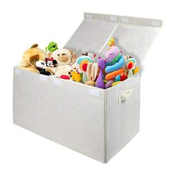 Homyfort Kids Large Toy Chest with Flip-Top Lid, Collapsible Storage Box Container Bins for Nurs ...