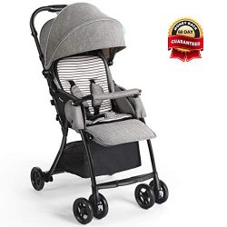 Dourxi Lightweight Stroller, One-Hand Fold Baby Stroller with 5-Point Safety Harness and Multi-P ...