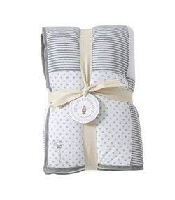 Burt's Bees Baby – Reversible Quilt Baby Blanket, Dottie Bee Print, 100% Organic Cot ...