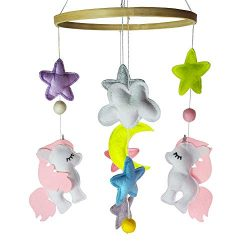 EsoulTechnology Baby Crib Mobiles Nursery Felt Decoration- Two Unicorn and Different Colored Sta ...
