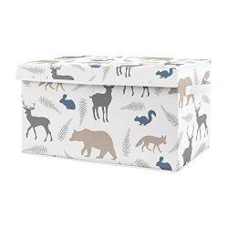 Sweet Jojo Designs Blue and Grey Bear Deer Fox Boy Baby Nursery or Kids Room Small Fabric Toy Bi ...