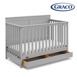 Graco Hadley 4-in-1 Convertible Crib with Drawer,Pebble Gray,Easily Converts to Toddler Bed Day  ...