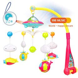 WishaLife Musical Baby Crib Mobile Toy with Lights and Music, Star Projector Function and 4 Dang ...