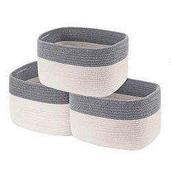 Cotton Rope Storage Baskets Set of 3 Storage Bins Organizer Decorative Woven Basket for Nursery  ...