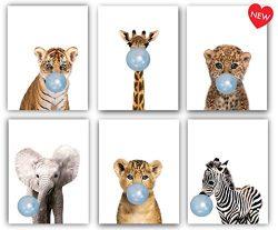 Designs by Maria Inc. Safari Blue Bubblegum Baby Animals Nursery Decor Art – Set of 6 (UNF ...