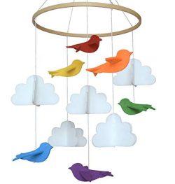 Baby Crib Mobile by Sorrel & Fern -Rainbow Birds & Clouds- Felt Nursery Ceiling Decorati ...