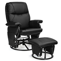 Giantex Glider Recliner with Ottoman, Swivel Glide Rocking Chair with Footrest Stool, PU Leather ...