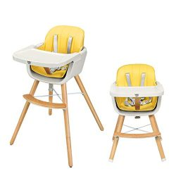 BABY JOY Convertible High Chair, Wooden 3 in 1 Multi-Functional Highchair with Adjustable Legs,  ...