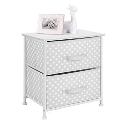 mDesign Short Vertical Dresser Storage Table Tower – Sturdy Steel, Wood Top, Easy Pull Fab ...