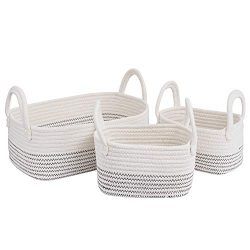 Cotton Rope Storage Baskets Storage Bins Organizer Decorative Woven Basket With Handles for Nurs ...